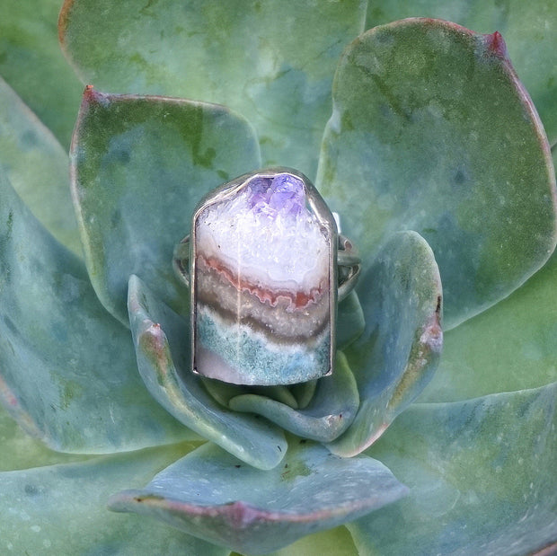 Amethyst Rough Quartz Crystal Ring 1