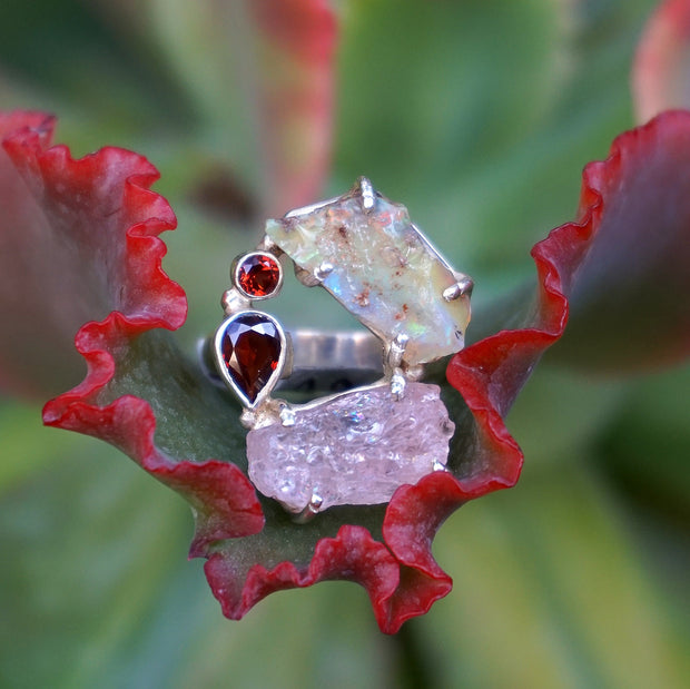 Garden Beauty Ring 5 with Ethiopian Opal, Rose Quartz & Garnet