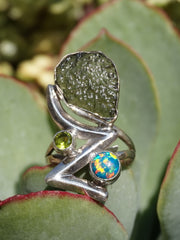 Moldavite Rough Artisan Ring 1 with Peridot and Fire Opal