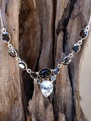 Black Onyx and Dendritic Opal Necklace 1 with Smoky Quartz