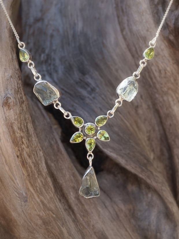 Green Amethyst Quartz and Peridot Necklace 1