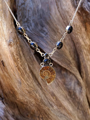 Ammonite Fossil and Black Onyx Necklace 2