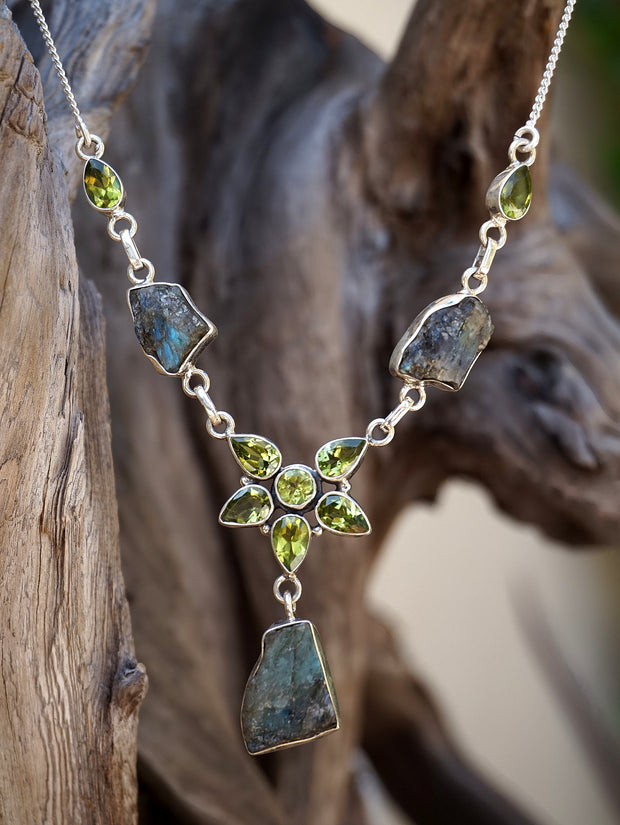 Rough Labradorite and Peridot Necklace 1