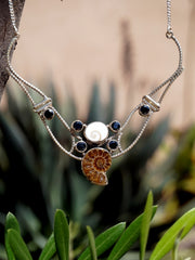 Ammonite Fossil and Black Onyx Necklace 1