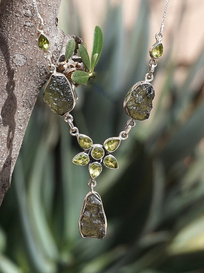 Moldavite Rough Necklace 2 with Peridot