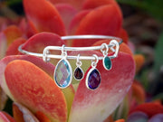 Blue Topaz and Amethyst Quartz Bangle Bracelet 2 with Garnet and Emerald