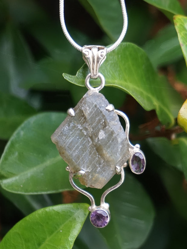 Free-form Rough Labradorite Pendant 5