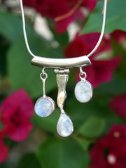 Rainbow Moonstone and Sterling Wave Pendant