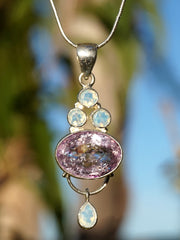 Pink Amethyst Quartz and Opalite Gemstones Pendant 1
