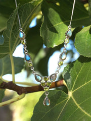 Labradorite and Peridot Drop Necklace