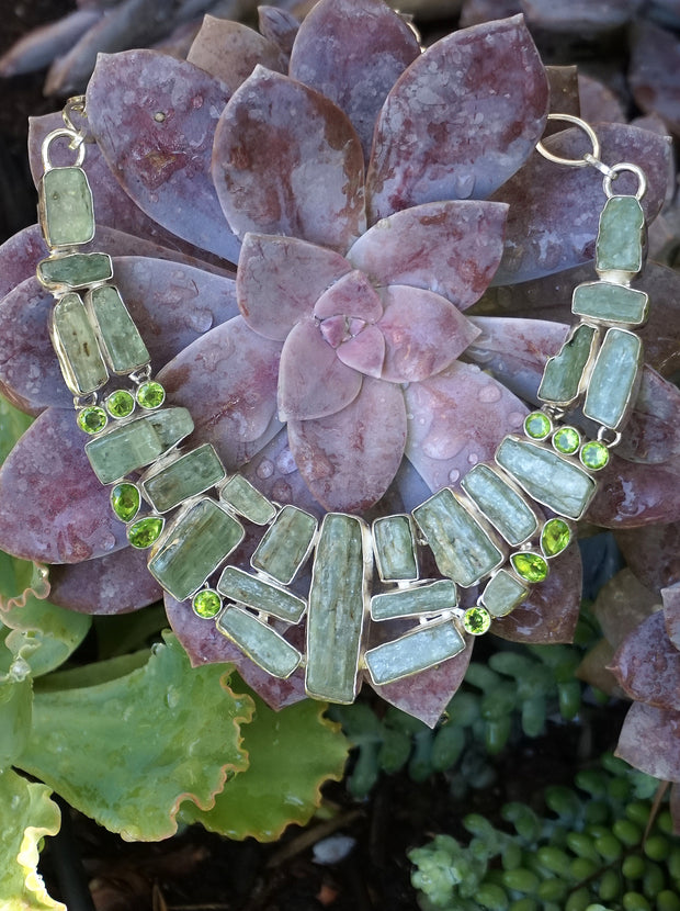 Green Kyanite Necklace 1 with Peridot