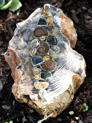 Ammonite Fossil and Quartz Bracelet 1