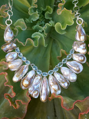 Cultured Biwa Pearl and Blue Topaz Necklace 1
