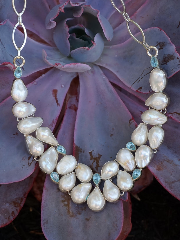 Mabe Pearl and Blue Topaz Necklace 2