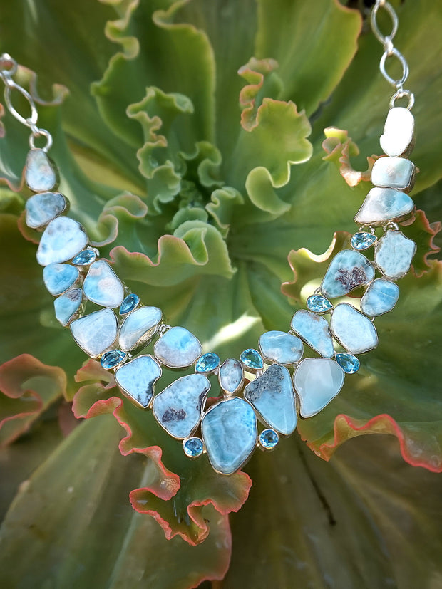 Rough Larimar and Blue Topaz Necklace 1