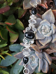 Herkimer Diamond Quartz Crystal Bracelet 1 with Black Onyx
