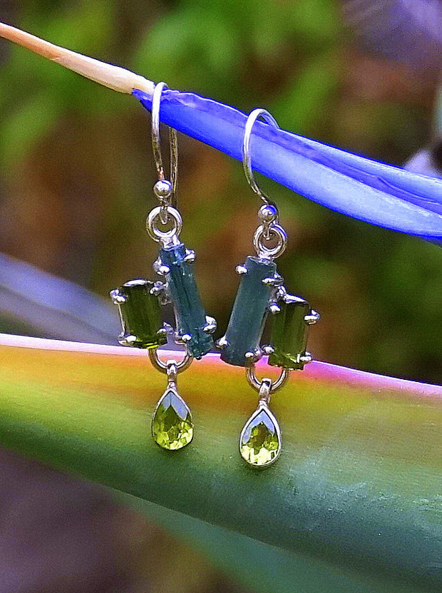 Tourmaline Crystal Earring Set 1 with Peridot