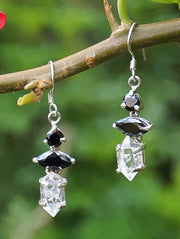Herkimer Diamond Quartz Crystal Earring Set 1 with Black Onyx