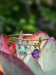 Apatite and Amethyst Quartz Bangle Bracelet 1 in Rose Bronze