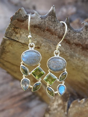 Labradorite Earring Set 7 with Peridot
