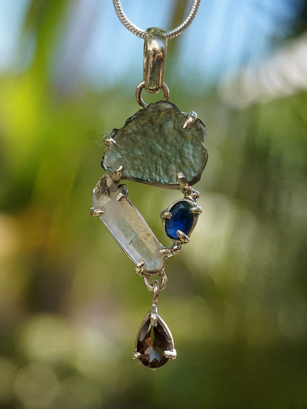 Free-form Moldavite Pendant 1 with Smoky Quartz and Blue Sapphire