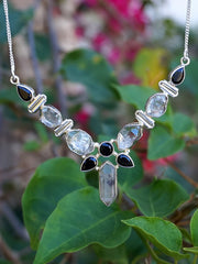 Herkimer Diamond Quartz Crystal and Black Onyx Hinged Necklace 1