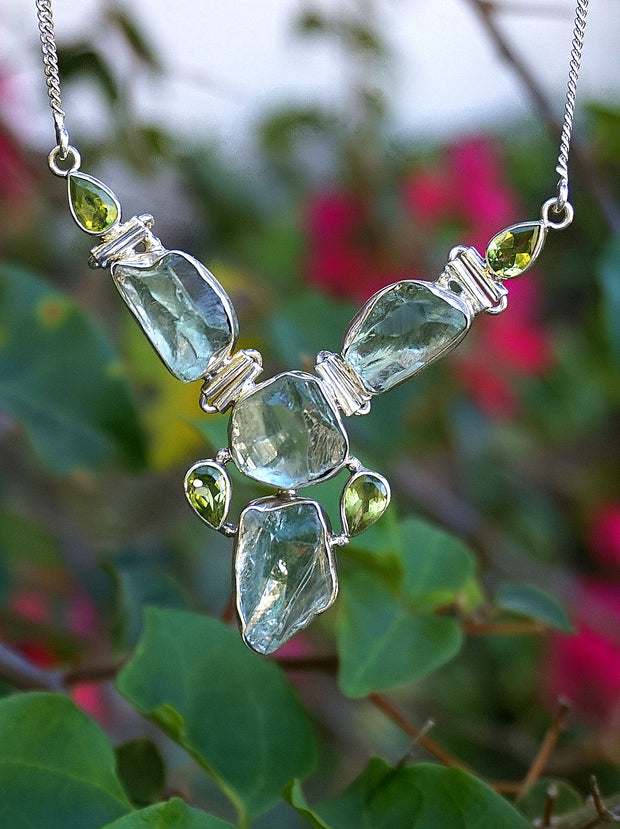 Green Amethyst Quartz Crystal and Peridot Hinged Necklace 2