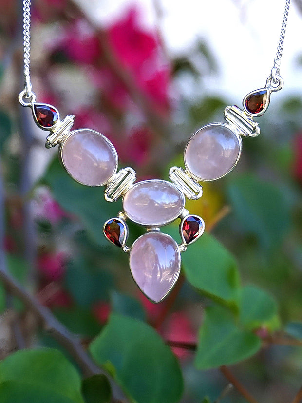 Rose Quartz and Garnet Hinged Necklace 1