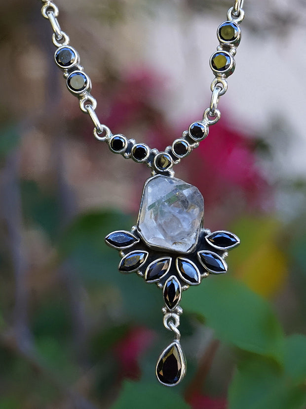 Herkimer Diamond Quartz Crystal and Black Onyx Necklace 2