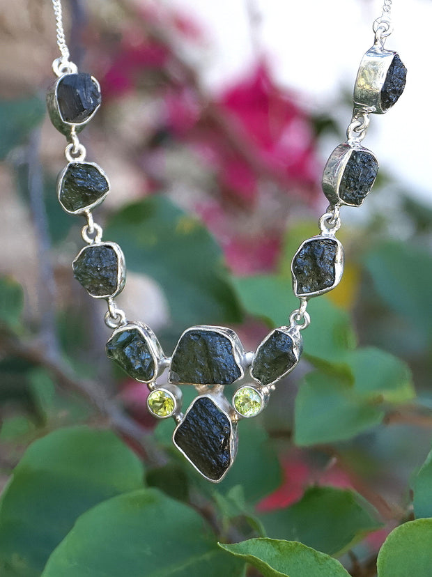 Moldavite Rough Necklace 1 with Peridot