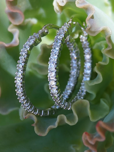 White Topaz Hoop Earring Set 2