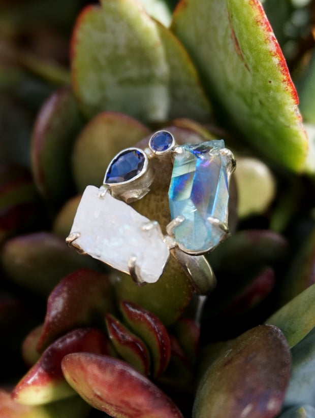 Garden Beauty Ring 10 with Moonstone, Aqua Aura Quartz and Tanzanite