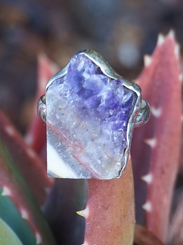Amethyst Rough Quartz Crystal Ring 2