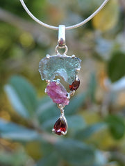 Moldavite Rough Pendant 3 with Tourmaline and Garnets