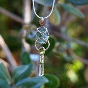 Moldavite Pendant 6 with Peridot and Quartz Crystal