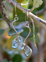 Aquamarine Rough Earring Set 3 with Blue Topaz