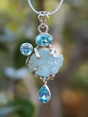 Aquamarine Rough Pendant 5 with Blue Topaz