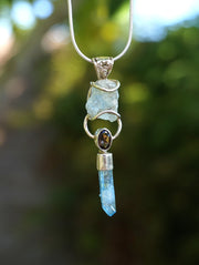 Aquamarine Pendant 2 with Smoky Quartz and Aqua Aura Quartz Crystal