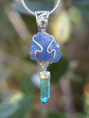 Rough Tanzanite Pendant 1 with Aqua Aura Crystal