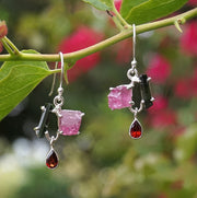 Tourmaline Crystal Earring Set 2 with Rough Pink Tourmaline and Garnets