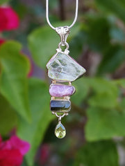 Tourmaline Pendant 2 with Green Amethyst and Peridot