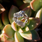 Garden Beauty Ring 12 with Meteorite, Herkimer Quartz Crystal & Smoky Topaz