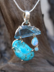 Garden Beauty Pendant 6 with Aqua Aura, Turquoise and Fire Opal