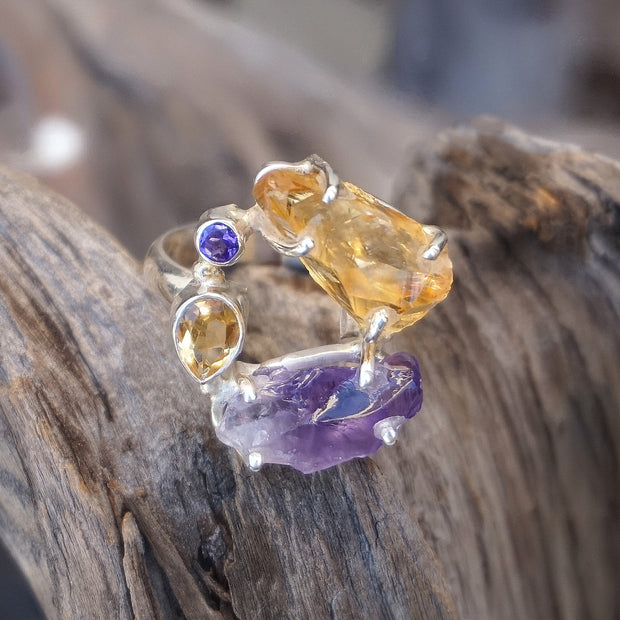 Garden Beauty Ring 11 with Amethyst and Citrine
