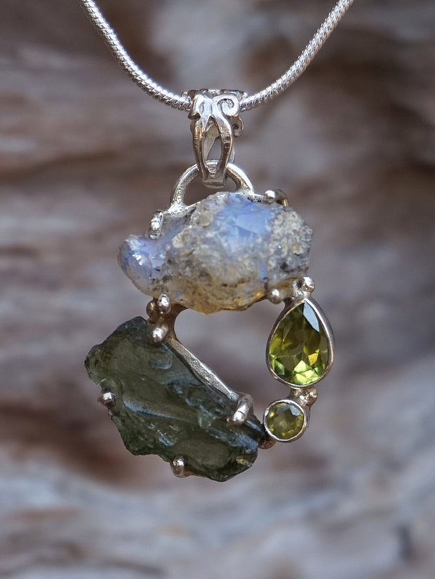 Garden Beauty Pendant 3 with Ethiopian Opal, Czech Moldavite and Peridot