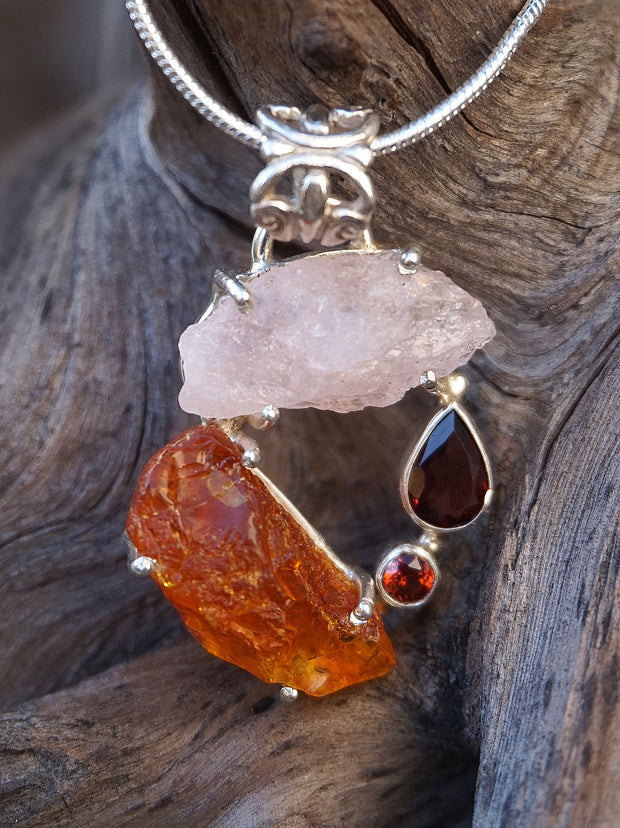Garden Beauty Pendant 2 with Amber, Rose Quartz and Garnets