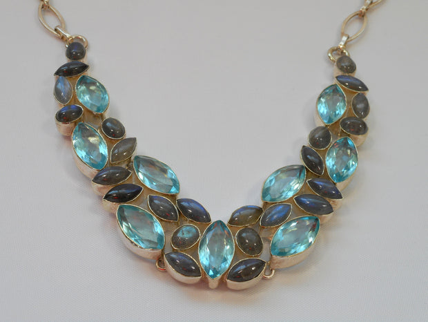 Labradorite and Blue Topaz Necklace 2
