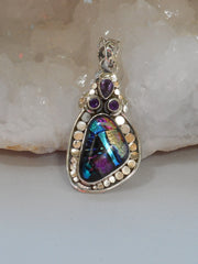 Dichroic Glass Pendant 2 with Amethyst Quartz