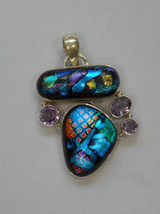 Dichroic Glass Pendant 3 with Amethyst