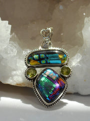 Dichroic Glass Pendant 6 with Peridot